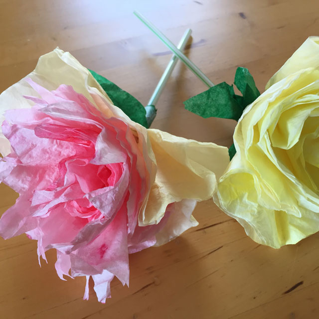 finished coffee filter flowers