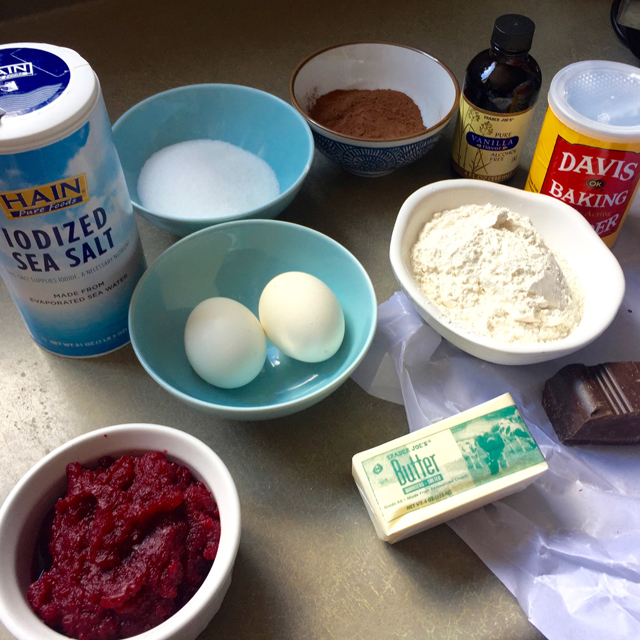Ingredients for chocolate beet cake: butter, eggs, beets, flour, salt, sugar, etc.