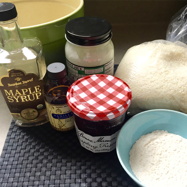 ingredients for cookies: coconut, maple syrup, vanilla, flour, etc.