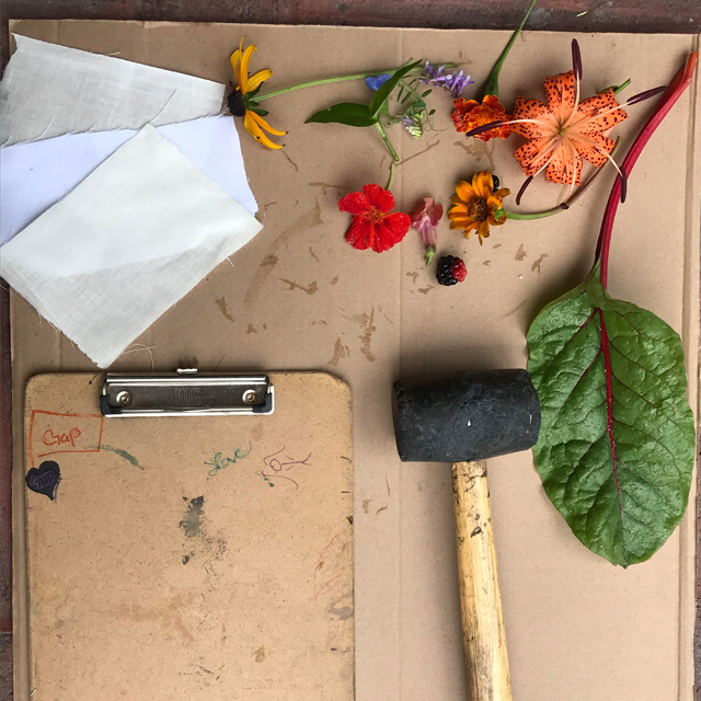 Flowers and plants, a clipboard, mallet, and fabric.