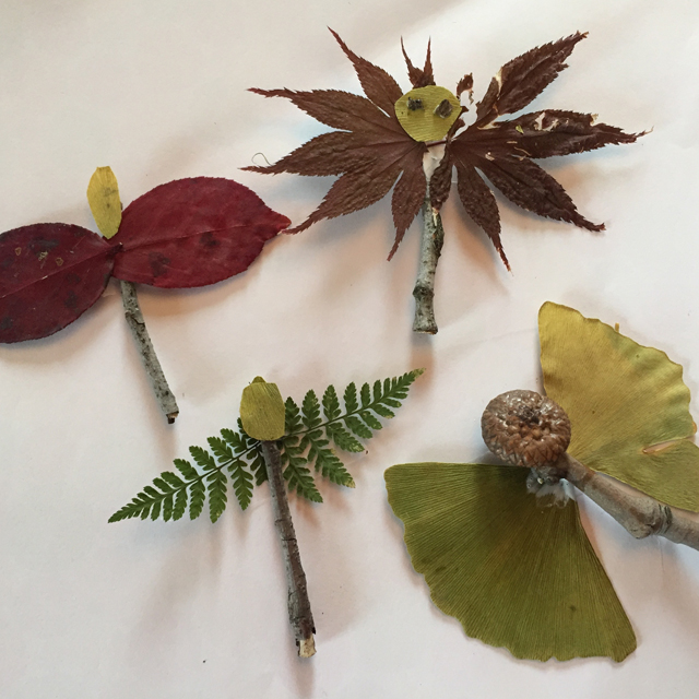 Leaf insects made with natural materials.