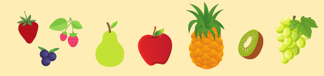Graphic showing fruit images: apple, pear, pineapple, kiwi, grapes, and berries.