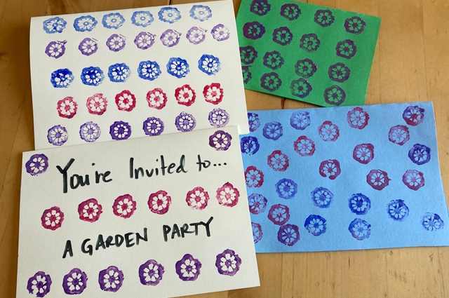 Party invitations printed with okra.