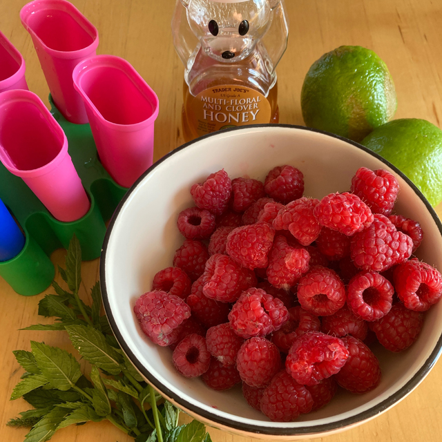 Ingredients for fruit popsicles: fruit, honey, limes, mint, and popsicle molds.