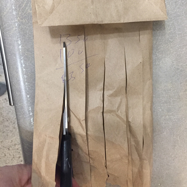 paper bag cut into strips