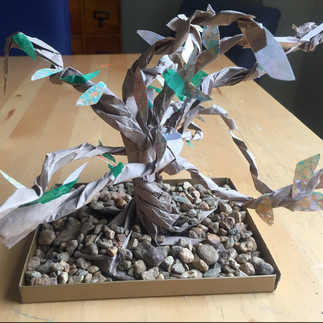finished bonsai tree with pebble base