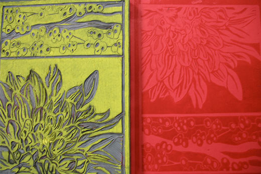 Red and green block printing patterns