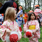 Kids playing during BBG's annual Sakura festival.